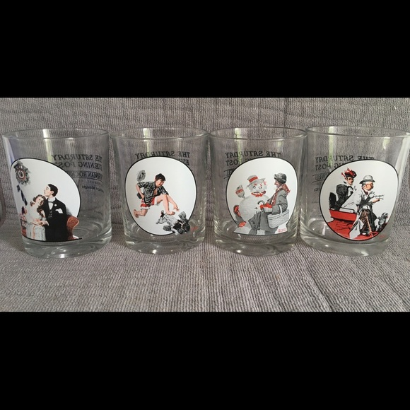4 Norman Rockwell Saturday Evening Post glasses